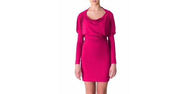 Dámské třešňovo-růžové šaty s řasenými rukávy Yuliya Babich