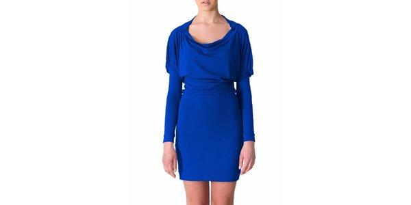 Dámské kobaltově modré šaty s řasenými rukávy Yuliya Babich