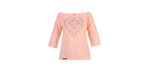 Dámské broskvové tričko Yuliya Babich s lodičkovým výstřihem a potiskem