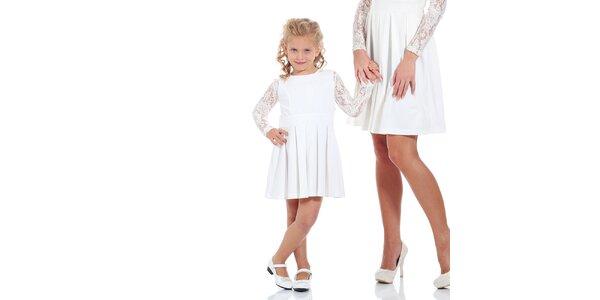 Dívčí bílé šaty se skládanou sukní Berry Couture