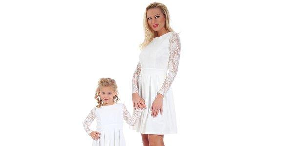 Dámské bílé šaty s krajkovými rukávy Berry Couture