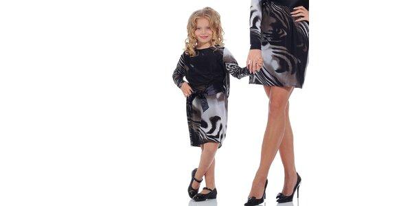 Dívčí vzorované šaty se stuhou Berry Couture