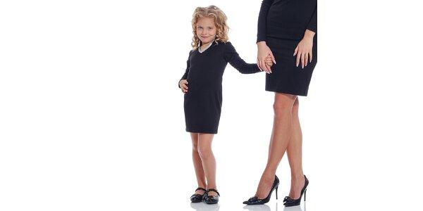 Dívčí černé šaty se stříbrně lemovaným dekoltem Berry Couture