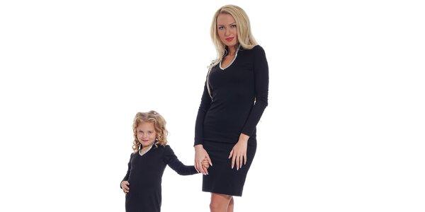 Dámské černé šaty se stříbrným lemem Berry Couture