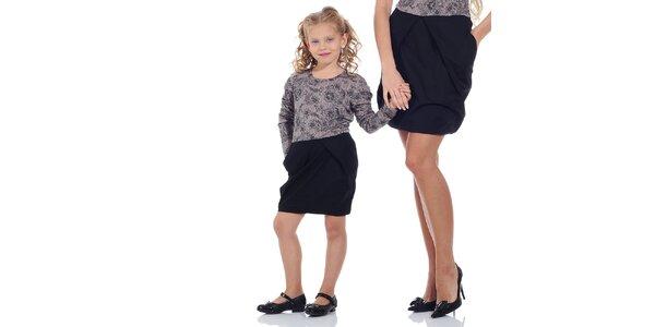Dívčí fialovo-černé vzorované šaty Berry Couture
