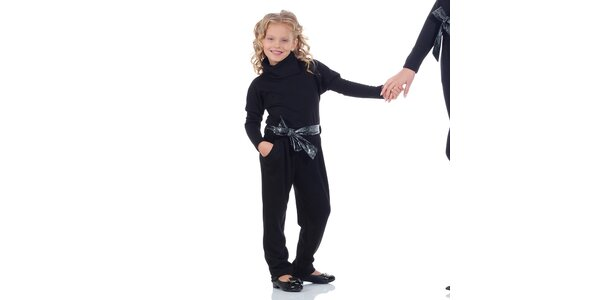 Dívčí černý overal se stuhou Berry Couture