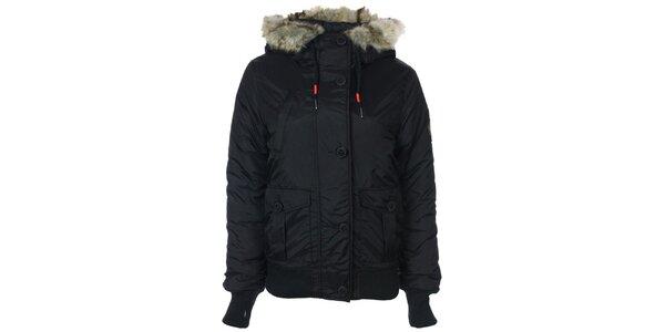 Dámská černá bunda s kožíškovou kapucí Bench