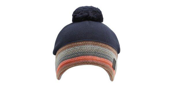Tmavě modrá čepice s barevným lemem Bench