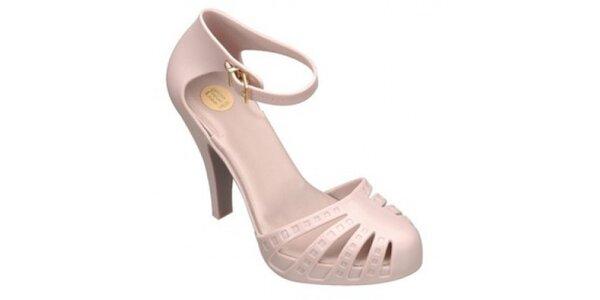 Dámské béžovorůžové boty na podpatku Melissa