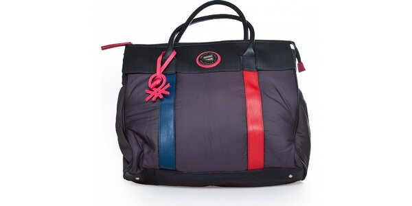 Dámská černá nylonová kabelka Benetton s barevnými detaily