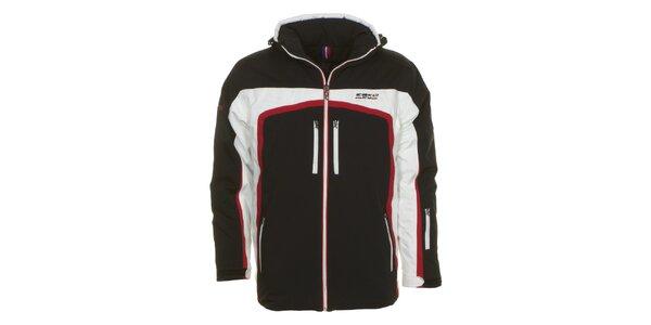 Pánská černá lyžařská bunda s bílým a červeným pruhem E2KO