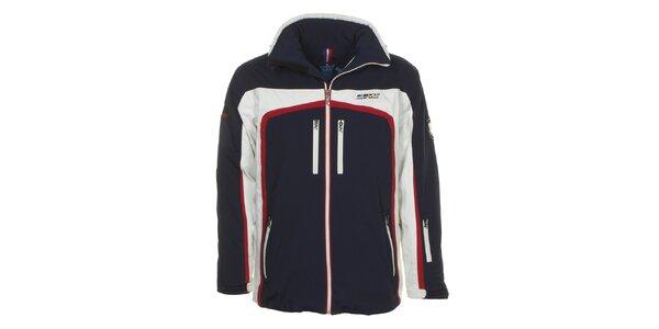 Pánská tmavě modrá lyžařská bunda s bílým a červeným pruhem E2KO