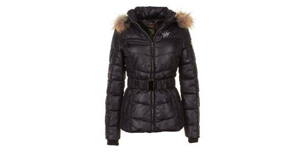 Dámská černá prošívaná bunda s liščí kožešinou na kapuci E2KO