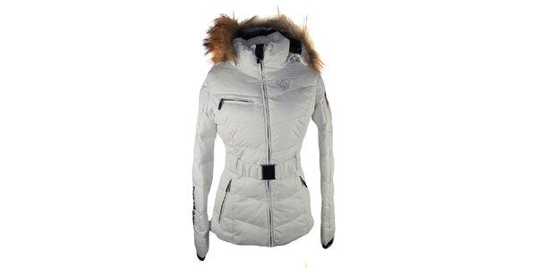 Dámská bílá prošívaná bunda s liščí kožešinou na kapuci E2KO