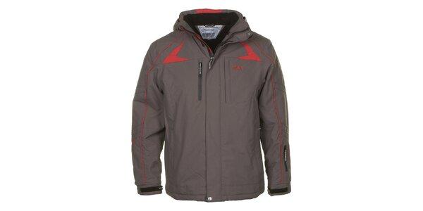 Pánská šedá bunda s červenými detaily E2KO
