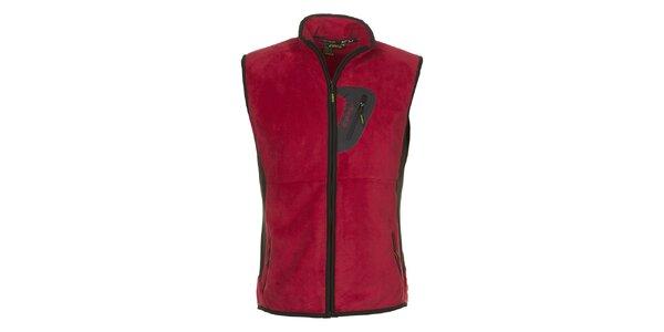 Pánská červená fleecová vesta E2KO
