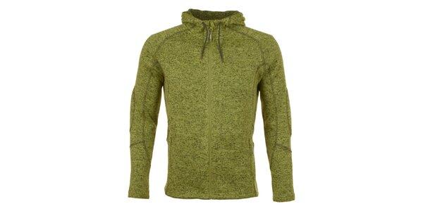Pánská zeleně melírovaná fleecová bunda E2KO