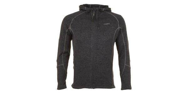 Pánská šedě melírovaná fleecová bunda E2KO