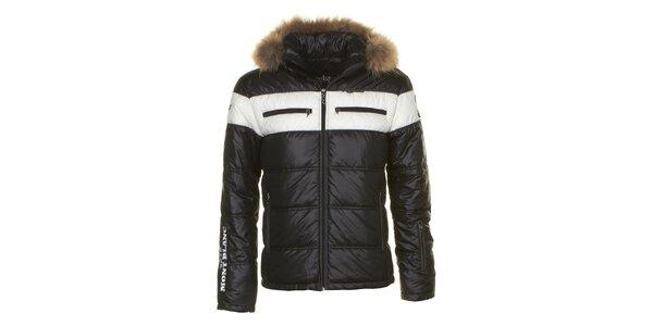 Pánská černá bunda s kapucí s liščím kožíškem E2KO