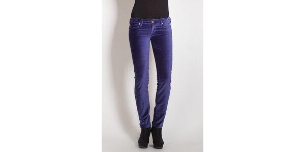 Dámské fialové sametové kalhoty Phard