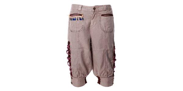 Dámské khaki capri kalhoty s folklórními prvky Angels Never Die