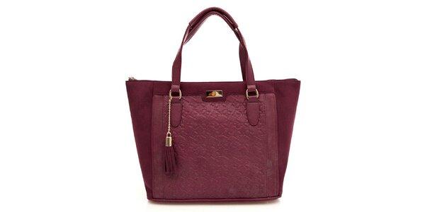 Dámská vínová kabelka se střapcem Paris Hilton