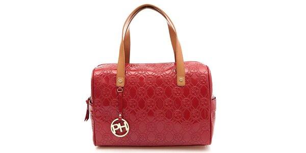 Dámská červená lesklá kufříková kabelka Paris Hilton