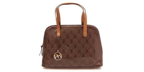 Dámská hnědá lesklá vzorovaná kabelka na zip Paris Hilton
