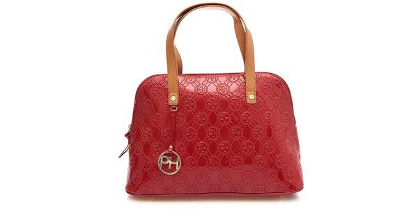 Dámská rudá lesklá vzorovaná kabelka na zip Paris Hilton
