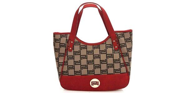 Dámská červeno-hnědá vzorovaná kabelka Paris Hilton