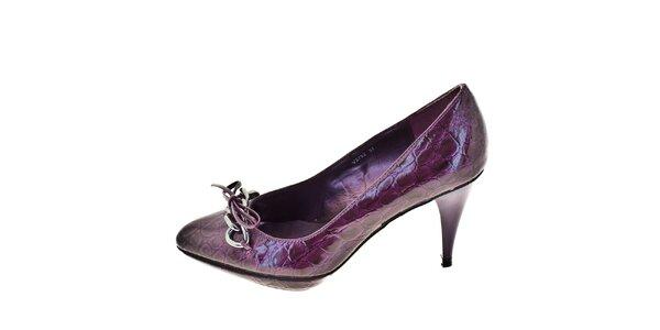 Dámské lesklé fialové lodičky 1to3