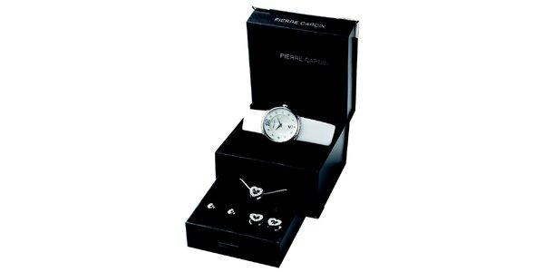 Dámská sada skvostných hodinek, řetízku a dvou párů náušnic Pierre Cardin