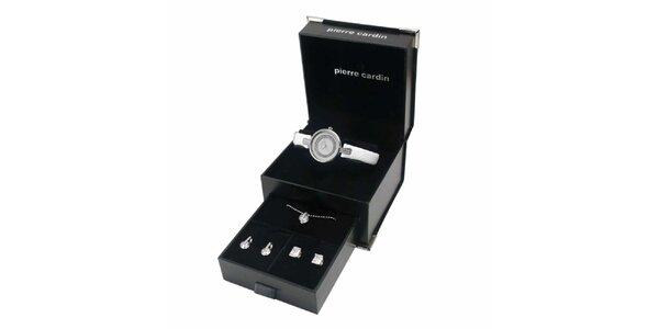 Dámská sada bílých hodinek, řetízku s přívěskem a dvou párů náušnic Pierre…