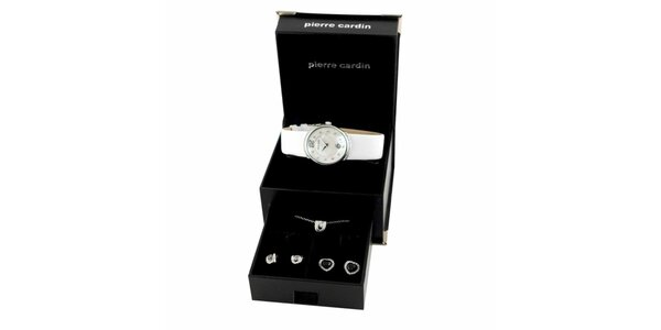 Dámská sada stříbrno-bílých hodinek, náhrdelníku a dvou párů náušnic Pierre…