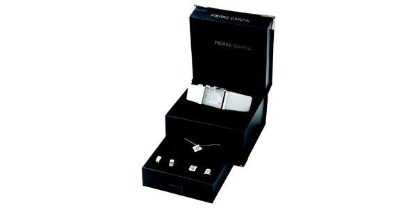Dámská sada hodinek s bílým páskem, náhrdelníku a dvou párů náušnic Pierre…