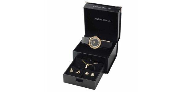 Dámská pozlacená sada hodinek, náhrdelníku a dvou párů náušnic Pierre Cardin