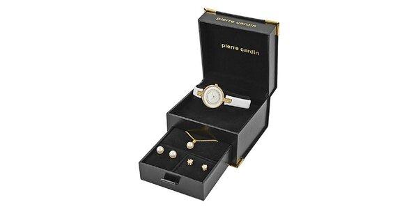 Dámská sada pozlacených hodinek, náhrdelníku a dvou párů náušnic Pierre Cardin