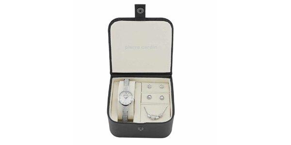 Dámská sada hodinek, náhrdelníku a dvou párů náušnic ve stříbrné barvě Pierre…