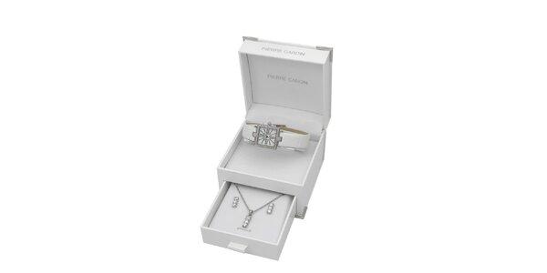 Dámská sada hranatých hodinek, náhrdelníku a náušnic Pierre Cardin