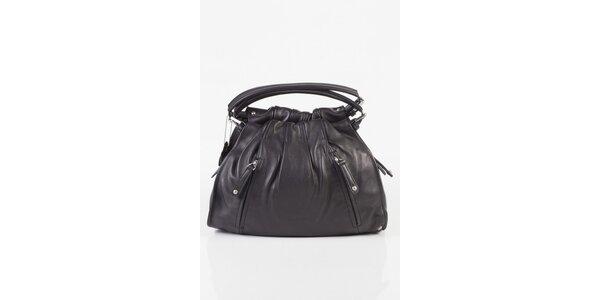 Dámská černá kožená kabelka Fuchsia