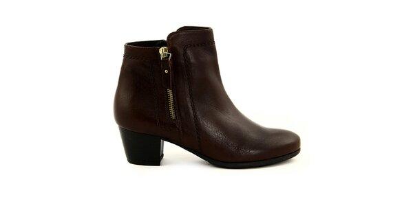 Dámské kávově hnědé kotníčkové boty se zipy Eye