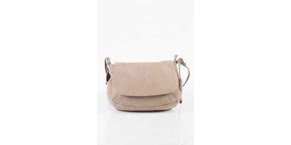 Malá dámská kožená kabelka Fuchsia v béžové barvě