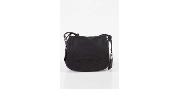 Malá dámská černá kožená kabelka Fuchsia