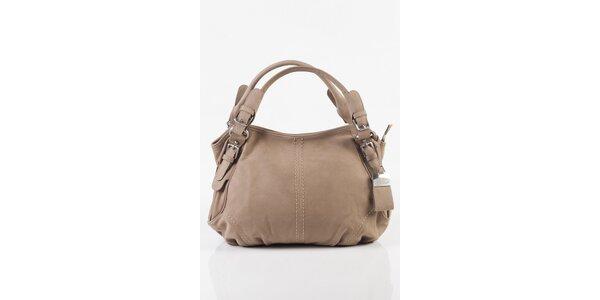 Dámská béžová kožená kabelka
