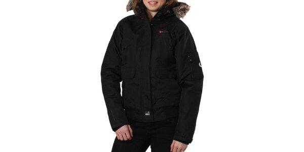 Dámská černá bunda s kožíškovým límcem Geographical Norway