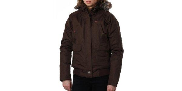 Dámská hnědá bunda s kožíškovým límcem Geographical Norway