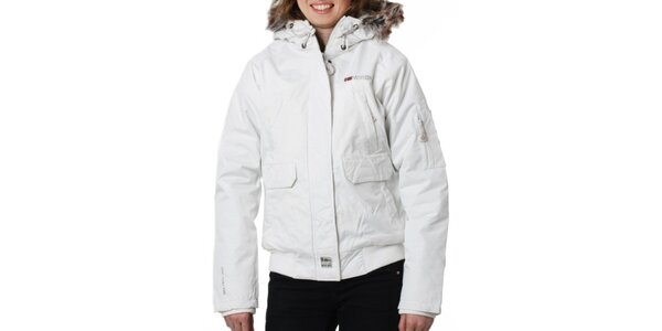 Dámská bílá bunda s kožíškovým límcem Geographical Norway