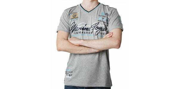 Pánské šedé tričko s potiskem Geographical Norway