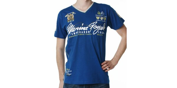 Pánské modré tričko s potiskem Geographical Norway