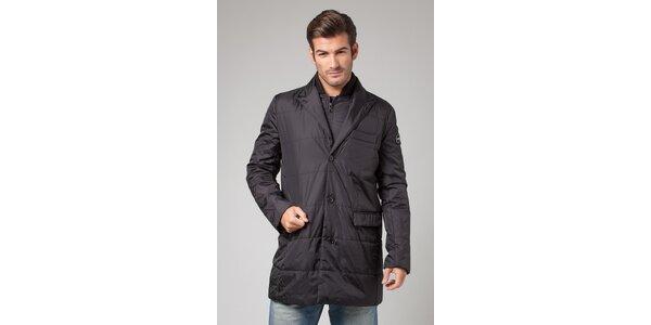 Pánský černý prošívaný kabát More Down Eight s vestou
